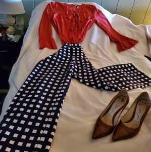 Navy and White Checkered Crop Pants